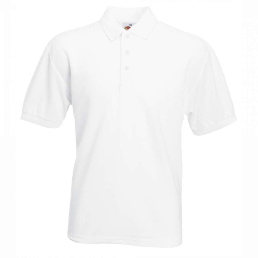 Tričko pánske Polo s bavlnou a polyesterom v bielom