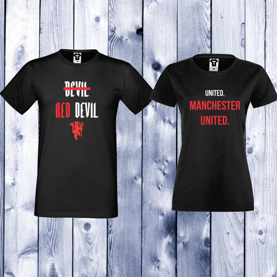 Trička pro páry Černá United. Manchester United D-CP-054B
