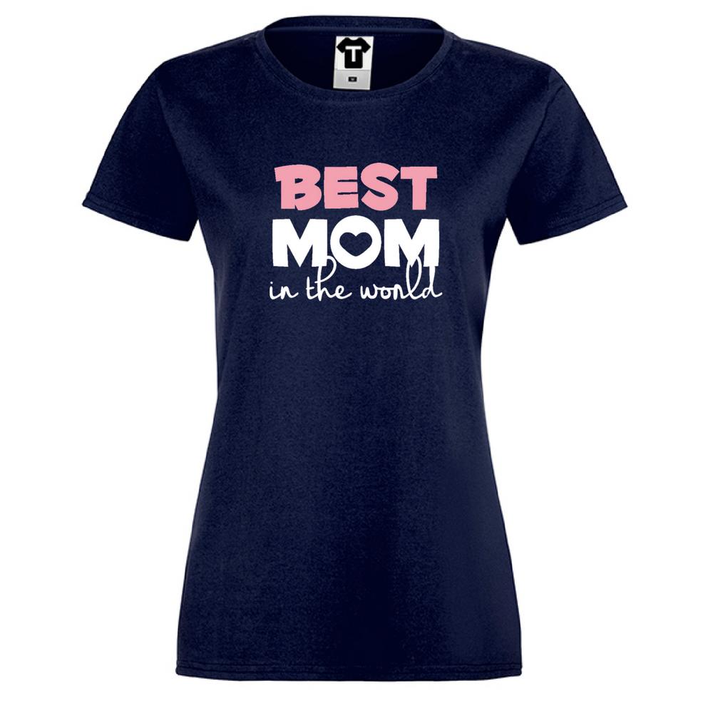 Tmavě modré Dámské tričko Best Mom in The World
