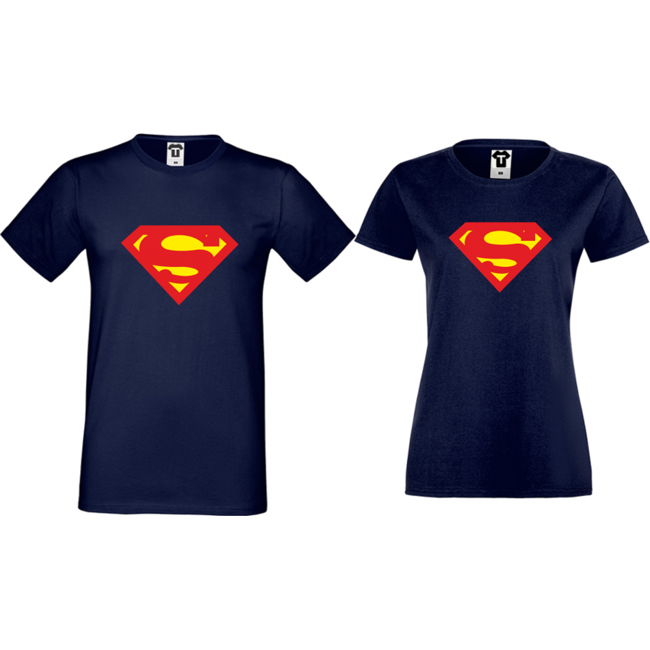 Trička pro pary SuperBoy SuperGirl tmavě modrá D-CP-153N