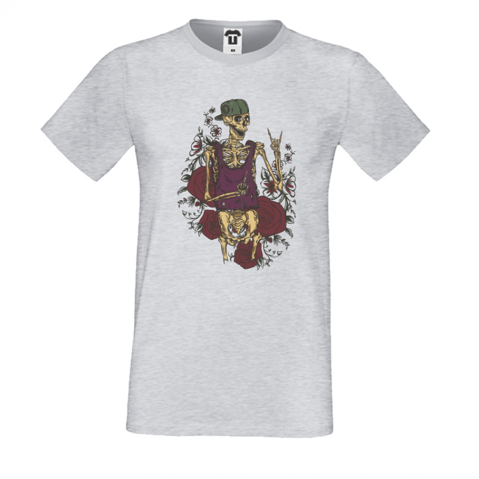Pánská trička Šedé Sceleton P-M-218G