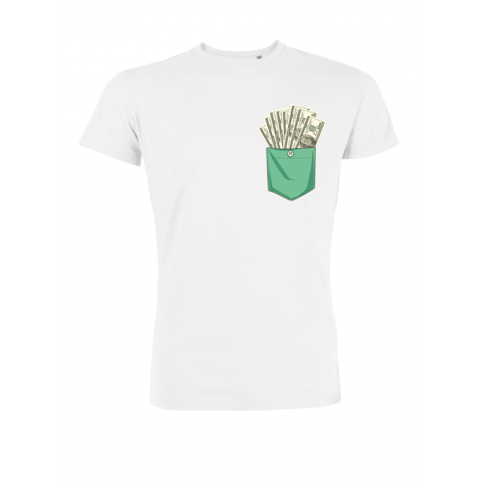 Pánské tričko Bílé Dollar Pocket P-M-223