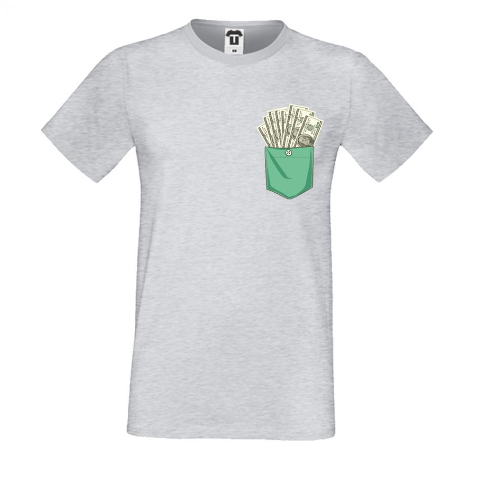 Pánská trička Šedé Dollar Pocket P-M-223G