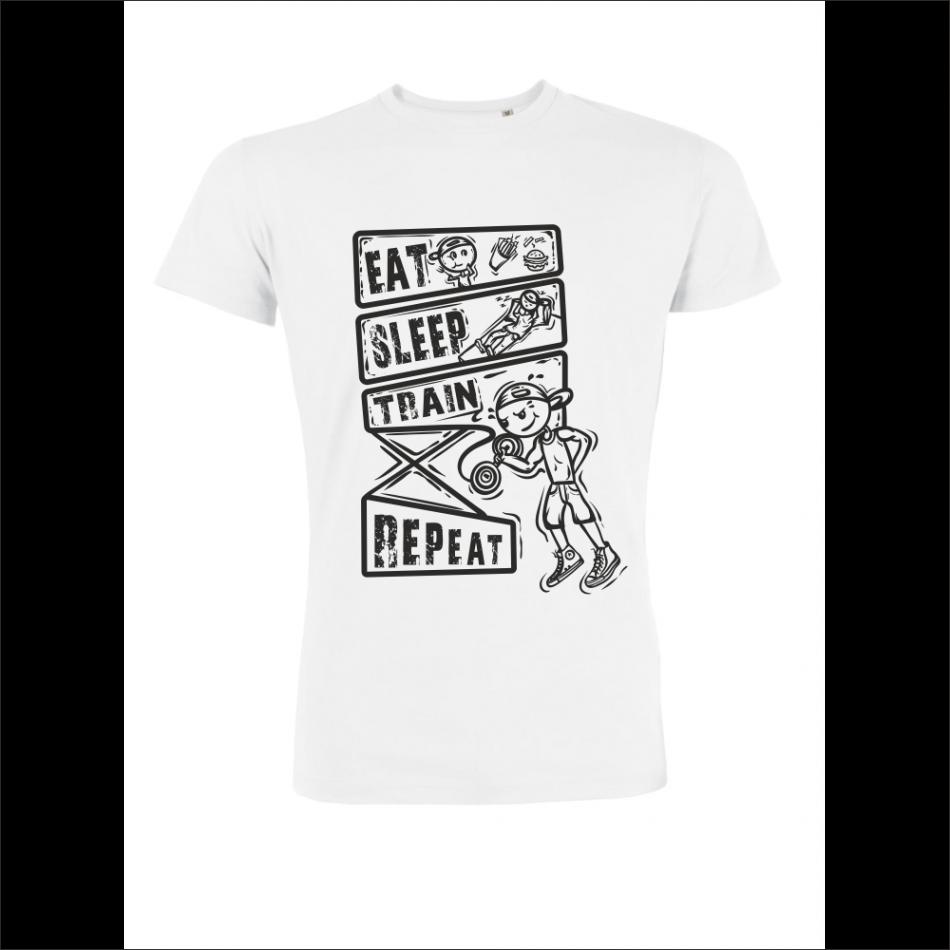 Pánské tričko Bílé Eat Train Sleep P-M-226