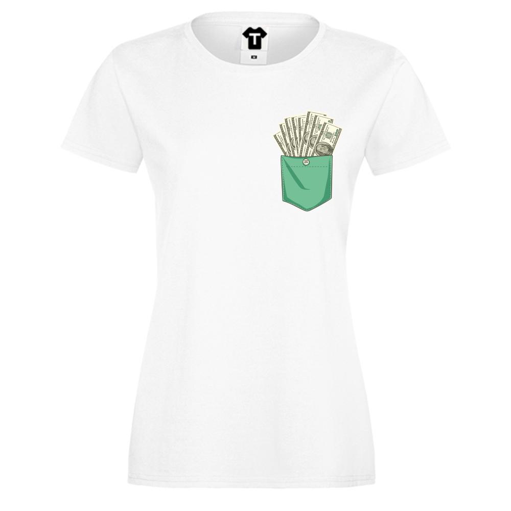 Dámské tričko Bílá Dollar Pocket P-W-223